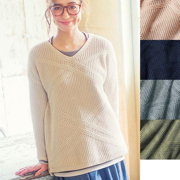 [RyuRyu] 交叉編織寬鬆針織上衣 / SALE