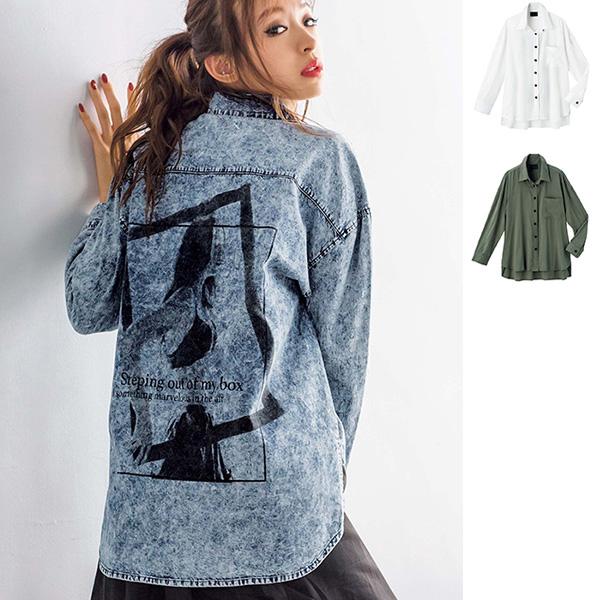 [RyuRyu] 背後圖案設計寬鬆襯衫  /SALE