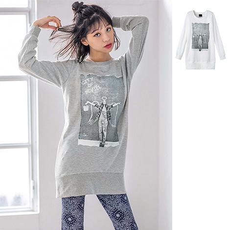[RyuRyu] 圖案內磨毛長版上衣/SALE