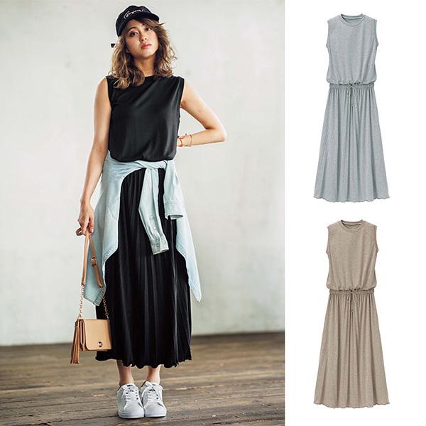 [RyuRyu] 拼接百褶長裙無袖洋裝/SALE