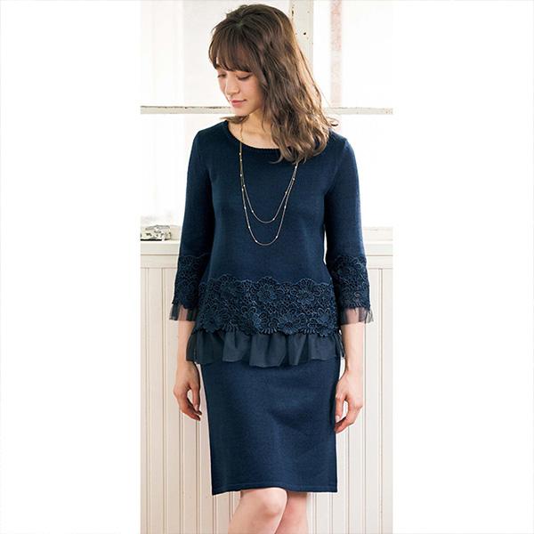 [RyuRyu] 蕾絲&襯裙裝飾兩件式套組/SALE