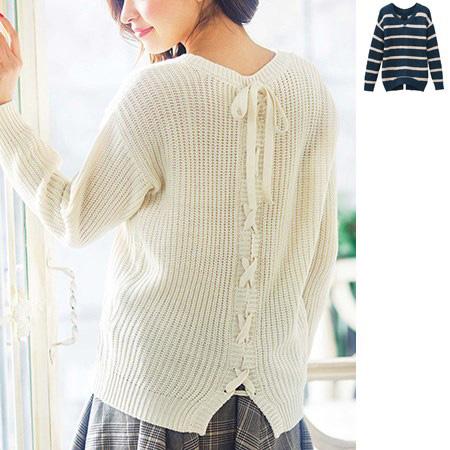 [RyuRyu]背後造型蝴蝶結針織上衣 /SALE