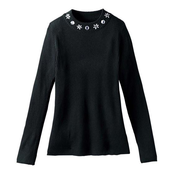 [RyuRyu]領口寶石使用高領羅紋針織衫 (M) /SALE