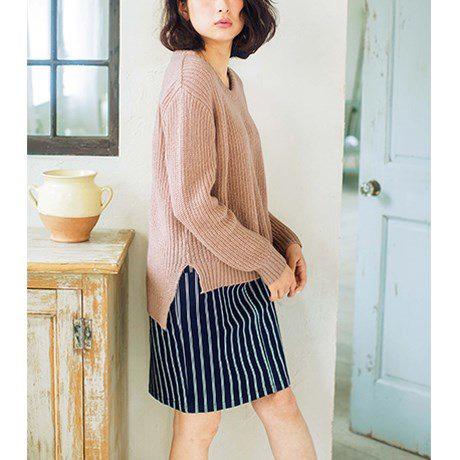 [RyuRyu]馬海毛觸感寬鬆畦編針織衫 (M) /SALE