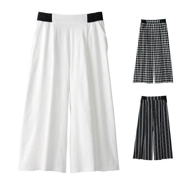 [RyuRyu] 優美線條腰部鬆緊帶內裏刷毛寬版褲 /SALE