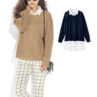 [RyuRyu] 襯衫附領子針織洋裝 /SALE