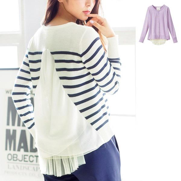 [RyuRyu] 背面雪紡薄紗設計針織衣 /SALE