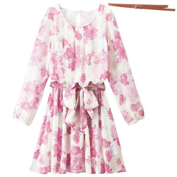 [RyuRyu] 雪紡連身裙(附皮帶2條) /SALE