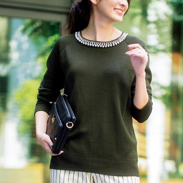 [RyuRyu] 附珠寶裝飾背開岔褶子米蘭羅紋針織上衣 /SALE