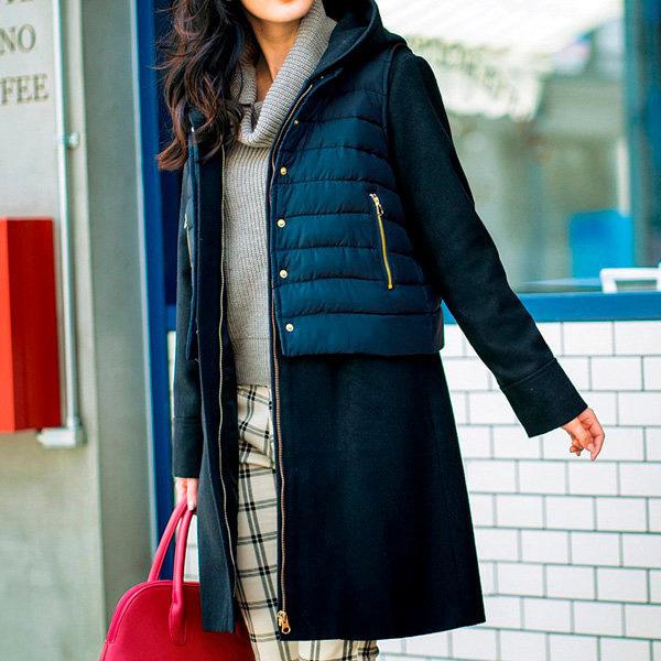 [RyuRyu] 附背心多層次兩件式大衣 /SALE