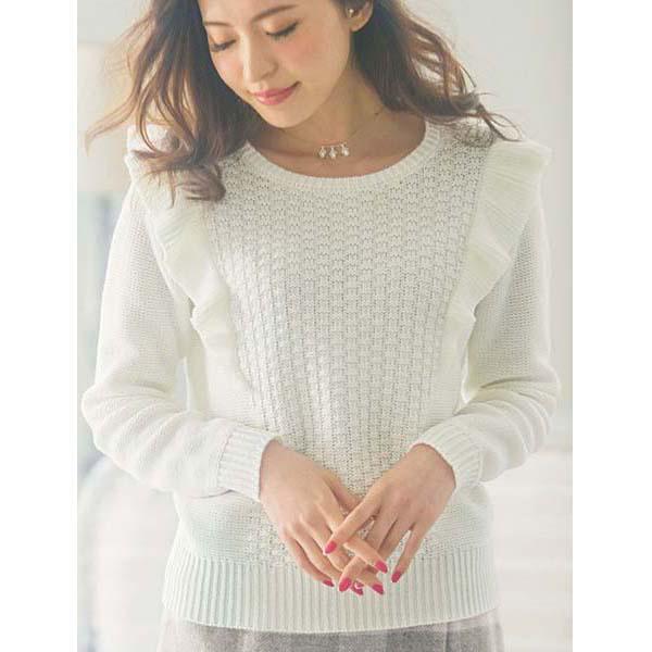 [RyuRyu] 肩部荷葉邊針織套頭衫 (L) /SALE