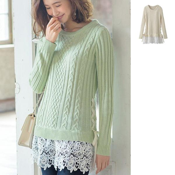[RyuRyu] 蕾絲點綴&多層次設計編織毛衣  /SALE