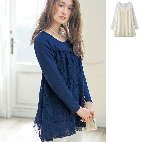 [RyuRyu] 浪漫蕾絲下擺造型上衣/SALE