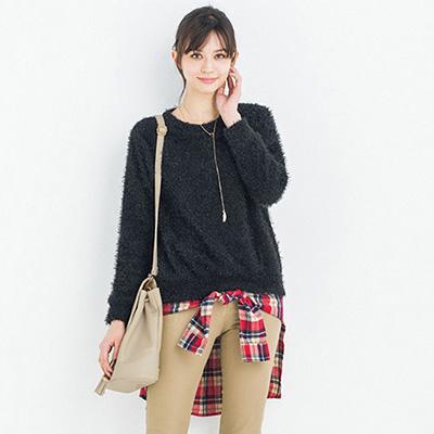 [RyuRyu] 毛茸茸圓領針織上衣/SALE