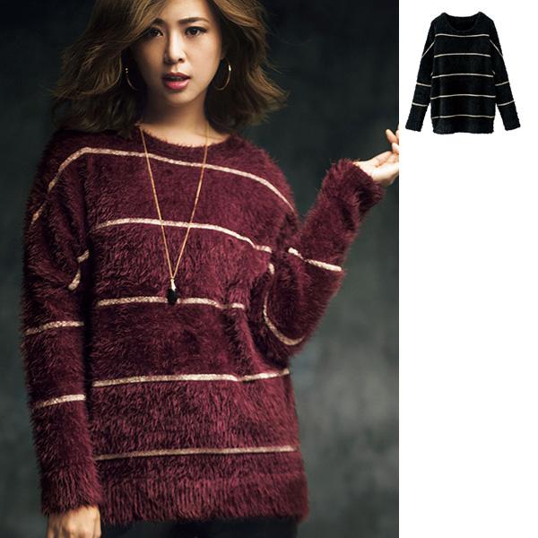 [RyuRyu] 簡約條紋毛毛上衣  /SALE