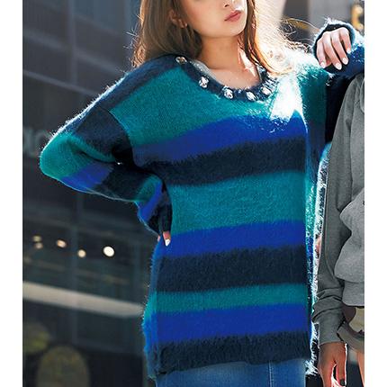 [RyuRyu]附寶石刷毛針織束腰衫 (M) /SALE