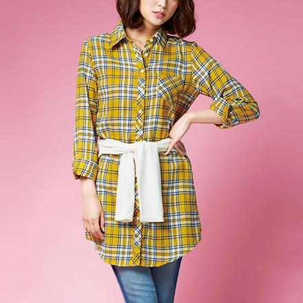 [RyuRyu]撞色格紋襯衫洋裝/SALE