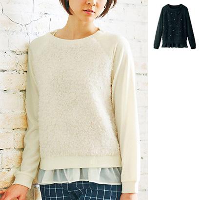 [RyuRyu] 附珍珠風串珠刷毛感針織衫&背心組  /SALE