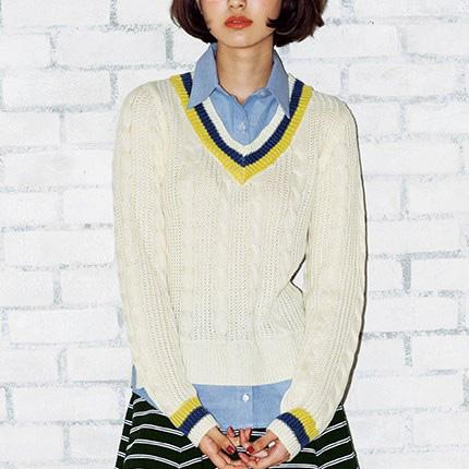 [RyuRyu] 襯衫層次風針織衫 /SALE
