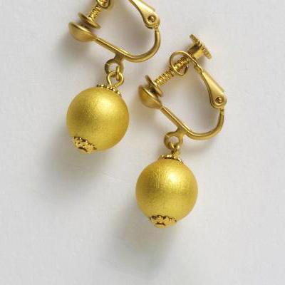 夾式耳環 短款 金色
