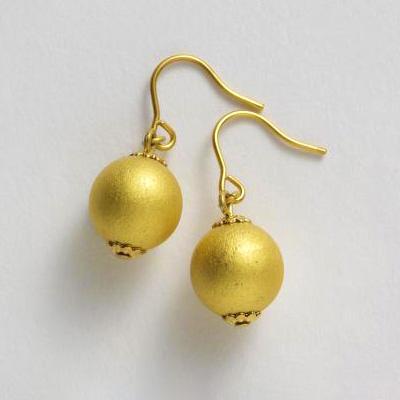 穿式耳環 短款 金色