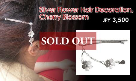 Silver Flower Hair Decoration, Cherry Blossom