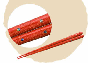Tsugaru-Nuri Ice Flower Chopsticks,  Red [21cm]