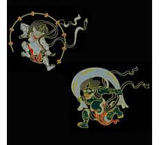 Japanese Pattern Maki-e Stickers A Set: Gods of Wind & Thunder  (Set of 2)