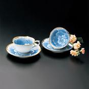 文山窯 白金牡丹 茶杯+茶碟組