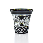 Yachiyo Kiriko Cut Glass, Ink Black Cup w/Bamboo Fence Pattern