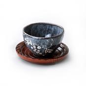Gyokuzangama Nezumi Shino Tea Cup (w/Saucer)
