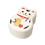 [Bento Box] Variety Rounded Two-Tiered Bento, White Lucky Cat