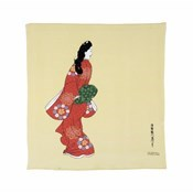 68 x 70cm Ukiyoe Chirimen Yuzen Beauty Looking Back