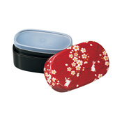 [Bento Box] Cherry Blossom & Rabbit  Bonded Cloth Kaga Oval Lunch Box, Red