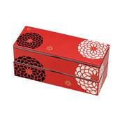 [便當盒] 百花系列 細長形兩層式便當盒 紅色