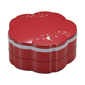 Tiered Bento Box, Sakura-Shaped 2-Tier Hors D'oeuvres, Vermillion Sakura Rabbit