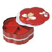 Tiered Bento Box, Chiyogami 2-Tiered Hors D'oeuvres, Sakura Vermillion