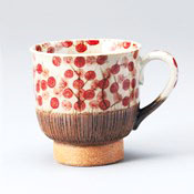 Hasamiyaki Comb Pattern Arabesque Mug, Red