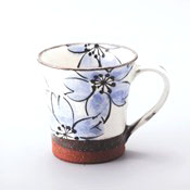 Hasamiyaki, Red Clay Cherry Blossom Mug, Blue
