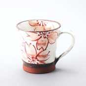 Hasamiyaki, Red Clay Cherry Blossom Mug, Red