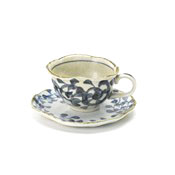 Minoyaki Blue & White Porcelain Octopus Arabesque Cup & Saucer