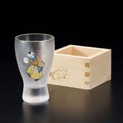 江戸猫グラス 手まりネコ 枡酒グラス