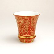 SAKE GLASS Tanrei, Curved, Gold Pine, Bamboo & Plum