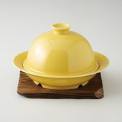 [Cookware for Microwave] Metabo Steam Cooker, Yellow Glaze w/Yakisugi Stand