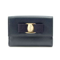 [Imperfect Item] Salvatore Ferragamo 22-c328-0614789 Double-Fastener Bi-Fold Wallet SAFFIANO (Navy)