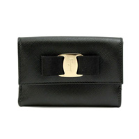 [Imperfect Item] Salvatore Ferragamo 22-c328-0614785 Double-Fastener Bi-Fold Wallet SAFFIANO (Black)