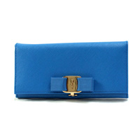 Salvatore Ferragamo 22-a900-0643536 Long Wallet SAFFIANO (Blue) / Ladies'