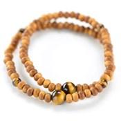 Kyoto Buddhist Rosary/Bracelet Double Bracelet, Sandalwood w/Tiger's Eye