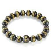 Kyoto Buddhist Rosary/Bracelet Bracelet, Ebony Heart Sutra, Matte