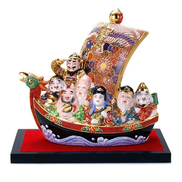 7 Seven Lucky Gods Treasure Ship Decoration W Stand Mat